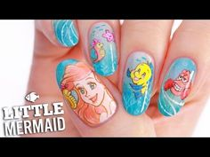 Disney rsquo s Little Mermaid Nail Art Tutorial Disneys Little Mermaid Nail Art featuring Princess Ariel Flounder and Sebastian! When I was little my bedroom was Little Mermaid themed and I had so many Ariel toys because I loved Disney Princess Nail Designs, Disney Princess Nails, Princess Toys, Disney Princesses, Minnie Mouse Nail Art, Mickey Mouse Nails, Little Mermaid Nail Art, Simple Disney Nails, Frozen Nail Art