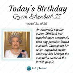 Todays Birthday, Queen Elizabeth Ii, Biography, Reign, Biographies, Royalty, Biography Books