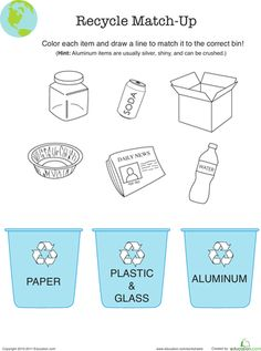 Worksheets: Recycle Match-Up  also make group poster with pics cut from mags and glued on. display at ceremonies.  Take group pic with poster for memory books.