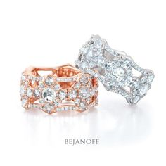 Rose Cut Diamond Eternity Rings in rose and white gold by Bejanoff