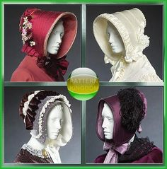 Ladies Early Victorian/Civil War Bonnet Hat Patterns McCalls 5129