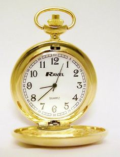 HUNTER FOB/POCKET WATCH-Chrome Lid/Chain/Clip-GOLD @ £7.49