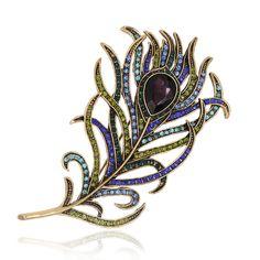 Romantische Veer Broche Pin Antieke Gold Crystal Rhinestone Metalen Vintage Sieraden Accessoire