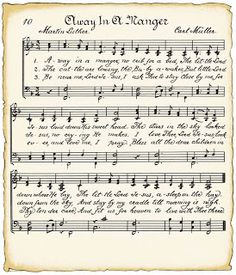 "Vintage sheet music for Christmas crafts ""Away in a Manger"""