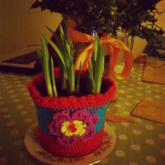 Crochet plant pot cover. Tutorial