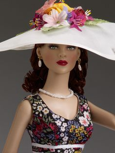 "#Pin2Win $99.99 DeeAnna Denton ""A Day at the Races"" Tonner Doll Company Outfit only  Fits 16"" curvaceous body  Floral dress with white ribbon trim  White crinoline petticoat  White hat with faux flowers  White gloves  Faux pearl earrings  Faux pearl necklace  Black faux leather shoes  LE 200"