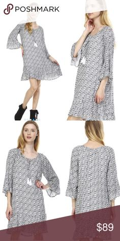 S-L Tie Front Tassel Boho Dress JUST IN!!! Tie Front Tassel Boho Dress. LOVE this one! Fully lined & love the bell sleeves. Quality is excellent. Runs true to size, measurements of a small are pictured. Loose, flowy fit. Comes in original packaging with tags. No trades Dresses