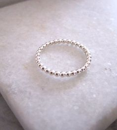 Sterling silver stacking ring, shop the Pearl Ring at www.empireandolive.com.au