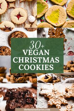 These are the top super festive and fun vegan Christmas cookies to make this year! Everything from classic vegan sugar cookies to even some fun Christmas tree slice n' bake cookies, there's a cookie for everyone, even vegan gluten free Christmas cookies! FREE downloadable vegan cookie guide!