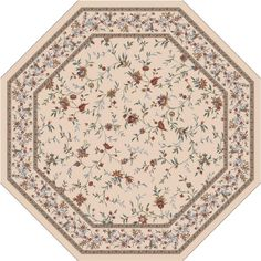 Milliken Hampshire 91-in x 91-in Octagonal Cream/Beige/Almond Transitional Nylon Area Rug at Lowes.com ($529.00) ==> For the breakfast nook