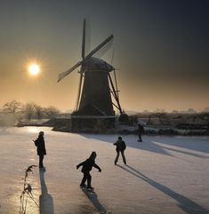 ice skating in the canals of the Netherlands