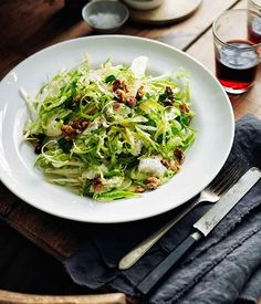 Shaved Brussels sprouts, walnuts and Gorgonzola cremificato salad - Gourmet Traveller