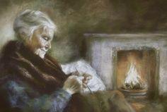 Knitting by Firelight by Margaret Ferguson