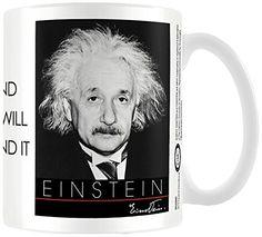 Albert Einstein mit Zitat aus Keramik Becher Natur - http://geschirrkaufen.online/albert-einstein/albert-einstein-mit-zitat-aus-keramik-becher