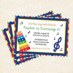 DIY Printable Music Theme Invitations by ItsAWildThing on Etsy