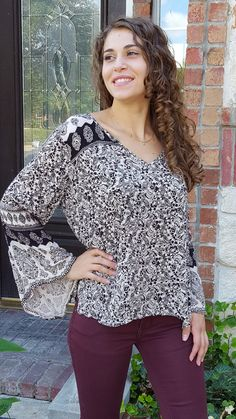 Layla Blouse - Black & Taupe