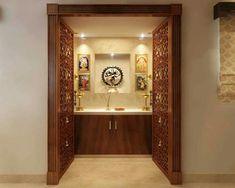 30 Best Temple-Mandir Design Ideas in Contemporary House - The Architects Diary Door Design, Room Design, Pooja Rooms, Prayer Room, Mandir Design, Indian Homes, Room Door Design, Contemporary House, Pooja Room Door Design