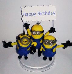 Minions handmade cake topper polymer (cold porcelain), Birthday by RUSTIKOcakeDecoratio on Etsy