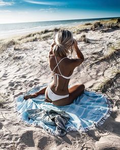 Kirsty Fleming (@kirstyfleming) beach towel tan girl ocean relaxing holiday vacation summer sun