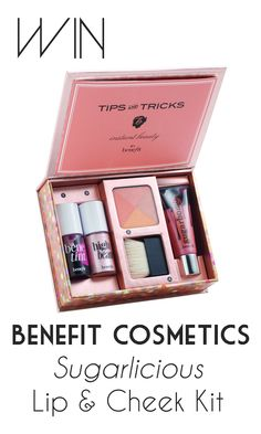 Benefit Sugarlicious Lip and Cheek Kit. A Benefit make up set - yes please! Both the highlighter and cheek tint are my faves (Affiliate link) Benefit Cosmetics, Makeup Cosmetics, Beauty Products Gifts, Makeup Products, Palette, Finishing Powder, Lip Kit, Nude Lip, Makeup Kit