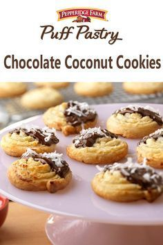 Puff Pastry Chocolate Coconut Cookies Recipe. These absolutely delicious cookies feature a winning combination of chocolate and coconut. But the key ingredient that makes them so good is the light and airy Puff Pastry. You might want to make two batches, because they'll be gone before you know it!