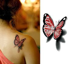 Beautiful 3D red and black butterfly temporary tattoo by nicecoco, $4.99