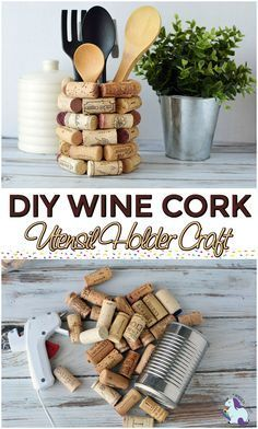 Love this DIY Kitchen Utensil Holder craft. Looks fun t… Wine Cork Craft Ideas. Love this DIY Kitchen Utensil Holder craft. Looks fun to make and use up some of my wine corks. Wine Craft, Wine Cork Crafts, Wine Bottle Crafts, Mason Jar Crafts, Wine Bottles, Diy Cork, Cuisines Diy, Wine Cork Art, Wine Cork Holder