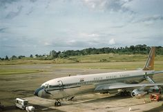 South African Airways Boeing 707 at Entebbe airport, which possibly had diverted from Nairobi. One of these aircraft came off Runway 06 at Nairobi Embakasi in November 1960 only weeks after the type had been introduced between London and Johannesburg. No one was injured and the aircraft was repaired and put back into service - PHOTO Daphne Seager Boeing 707, Boeing Aircraft, Nairobi, Afrikaans, Pilots, Airplanes, South Africa, Aviation, November