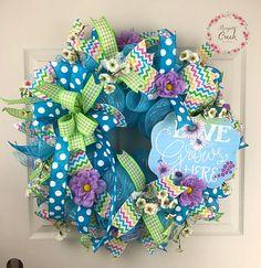 Spring Mesh Wreath Spring Wreath for Front Door Spring Door