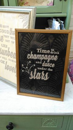 Set of three beautiful art deco frames: Gatsby, Fitzgerald, black and gold, cut out, love, champagne, dance, stars, romance, gift, wedding  Check out this item in my Etsy shop https://www.etsy.com/uk/listing/455620482/set-of-three-beautiful-art-deco-frames