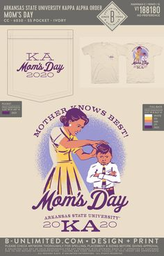 Kappa Alpha Order Mom's Day Shirt | Fraternity Event | Greek Event #kappaalphaorder #kappaalpha #theorder #ka Kappa Alpha Order, Arkansas State University, Dad Day, Fraternity, Greek, Dads, Mom, Shirt, Design