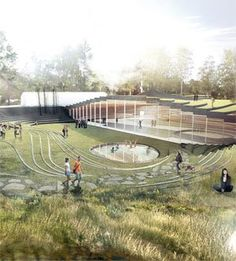 architecture Danish architect Bjarke Ingels, perhaps one of the youngest architects to get the starchitect label, is creating a model of biophilic design with a new sports center in Umea Bjarke Ingels Architecture, Architecture Jobs, Landscape Architecture Design, Sustainable Architecture, Contemporary Architecture, Landscape Architects, Landscape Designs, Amphitheatre Architecture, Google Architecture