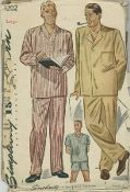 An unused original ca. 1944 Simplicity Pattern 1202.  Men's Long and Short Pajamas: The trousers have a drawstring waist and are finished with one-button fly front. The top is trimmed with a convenient patch pocket at the left side. In Style I, the top is finished with a neck band. In Style II, it has a four-button front opening. Style III is a short version of Style I. Choose long or short sleeves.