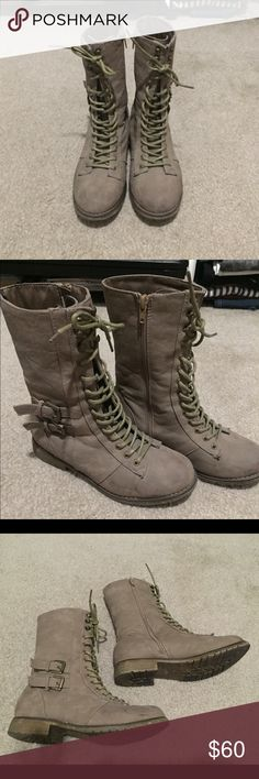 Cathy Jean military boots Dark taupe combat boots. Side zip and lace up front. Only worn two times. Looks almost new. Cathy Jean Shoes Combat & Moto Boots