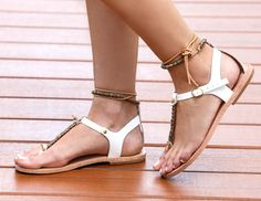 FREE SHIPPING-Mykonos White-Handmade feminine leather sandal with gold beads and leather lacing.  This is the perfect sandal for a night out