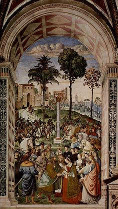 Fresco at Siena Cathedral depicting Pope Pius II. Pintoricchio