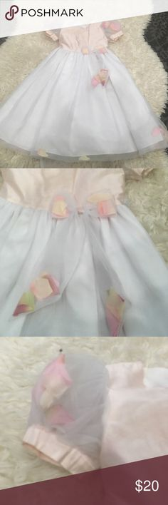 Perfect flower girl dress Petals in the sheer sleeves, the bow, bottom. With pearl buttons.  Pink and cream dress.  Has not been dry cleaned, has a very tiny spot, should easily come out. 100% silk size 4 sara lene  Dresses Formal