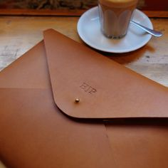 MONOGRAM A4 Leather Document Portfolio Case Letter Paper Tablet Folder Holder Custom - Tan