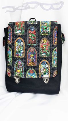 Wind Waker Stained Glass Legend of Zelda fabric made into a video game messenger bag.