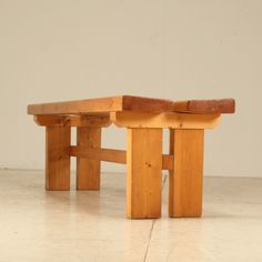 Charlotte Perriand; Pine Bench for Les Arcs Ski Resort, 1960s.