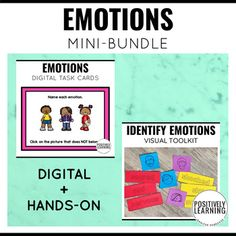 Identifying emotions with both digital and hands-on learning tools! Here are 30 Boom Cards, plus a visual toolkit (picture cues, sorting cards, vocabulary) to tackle identifying and discussing different emotions. Differentiate with the digital and printable options.This would be a fantastic support ...