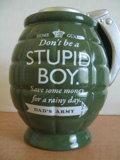 Piggy Bank Grenade Ceramic Money Pot Stupid Boy Dad's Army  #DadsArmy #BirthdayGraduationHolidays