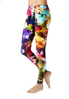 Bling Print Leggings - in vivid jewel tones - be fabulous and flexible. -Vivid print that won't fade after washing. -Easy care: machine wash cold. Tumble dry on regular or hang to dry. -Comfy elastic