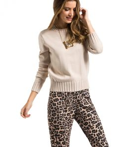SUÉTER TRICOT CROPPED CREME