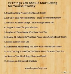 11 Things You Should Start Doing for Yourself Today | Purpose Fairy    Feeling better