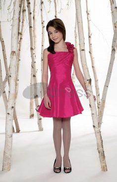 Flower Girl Dresses-Taffeta ruffle one-shoulder neckline flower girl dresses