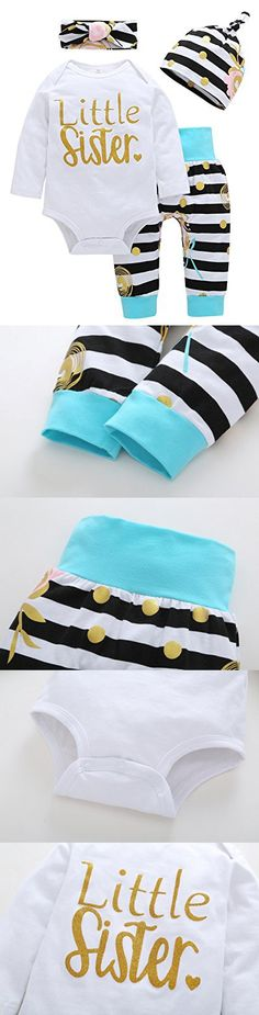 Happy Kido Baby Girls Clothes Little Sister Long Sleeve Romper Striped Long Pants Hat 4Pcs (0-6 Months, White Stripe)