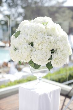 White hydrangea floral arrangement {Photo by Joielala Photographie}