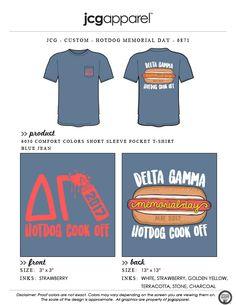 JCG Apparel : Custom Printed Apparel : Delta Gamma Hot Dog Cook Off T-Shirt #deltagamma #dg #hotdog #buns #ketchup #mustard #cookoff #memorialday #philanthropy #passthemustard