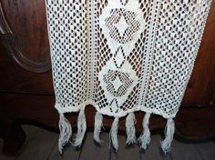 ♯} Antique French crocheted lace curtain drape, LONG handmade window curt... affordable http://etsy.me/2g6QxFT